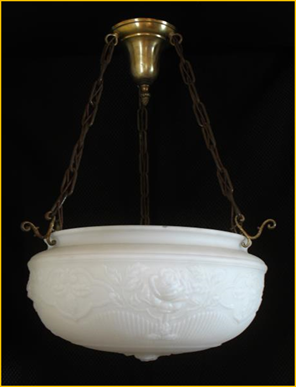 "Title: Victorian Lighting - Description: Huge glass ""rose bowl""suspended on three brass chains, early 1900s lighting fixture."