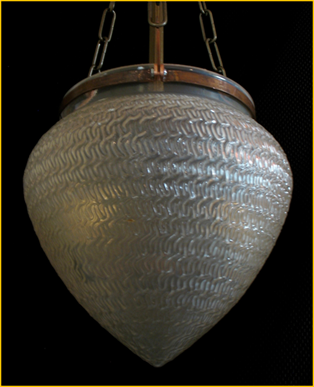 Title: Street Light Antique - Description: Huge textured antique streetlight glass repurposed in this gorgeous entry light fixture.