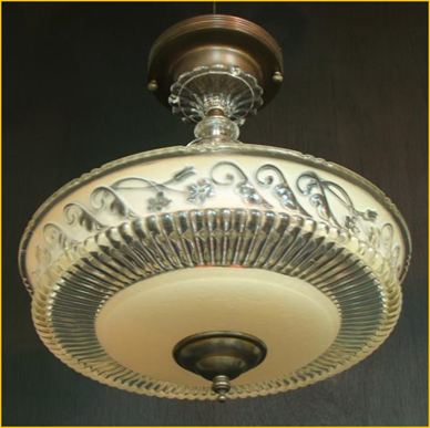 Title: Antique Lighting Florida - Description: Glass center post 1930s ceiling light from Harris House Antique Lighting shipped to Florida USA