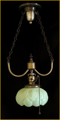 Title: Vaseline Glass Entry Pendant - Description: Victorian brass entry light pendant with vaseline glass artichoke format yelolw shade and unusual pull switch. Victoria BC