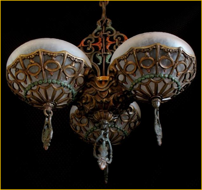 Title: Gill Glass Company Light Fixture - Description: Fancy cast three light semi-flush mount light fixture, original painted finish in gold, green and red, with frosted glass  bowl shades with center finials. Circa 1930s